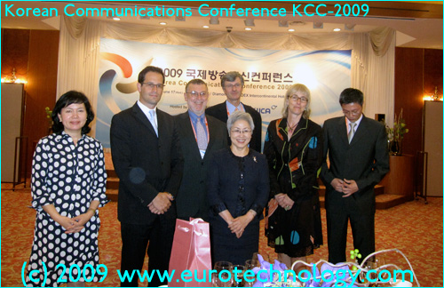 front row: Ms Kyung-Ja Lee, PhD (Commissioner of the Korean Communications Commission),  Back row (left to right): Kyung Hee Song (Director Radio Planning Division of Central Radio Management Office), Emilian Calemzuk (President FOX TV Studios), Jonathan Levy (Dpty Chief Economist, FCC), Gerhard Fasol (Eurotechnology Japan KK), Kate Bulkley (Journalist), Carlson Chu (Sr VP PCCW Ltd, Hong Kong)