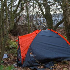 Workers said they were sleeping in woods near the warehouse to save money on transport. Photo copyright Cascade News (2016).
