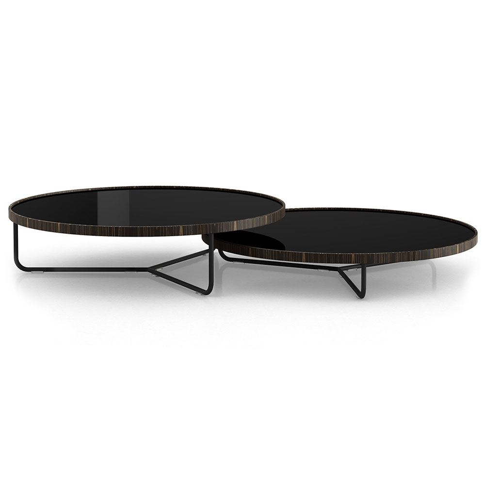 adelphi nesting coffee tables black glass