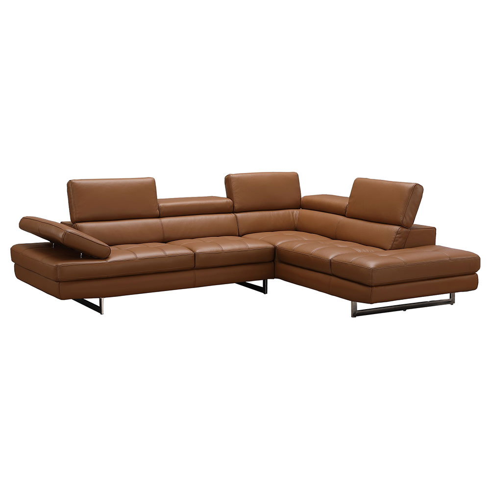aulum leather right hand sectional caramel