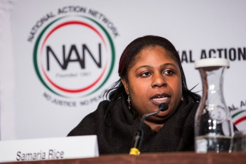 "Samaria Rice, mother of Tamir Rice- who was shot to death by a police officer - speak on a panel titled ""The Impact of Police Brutality - The Victims Speak"" at the National Action Network (NAN) national convention on April 8, 2015 in New York City."