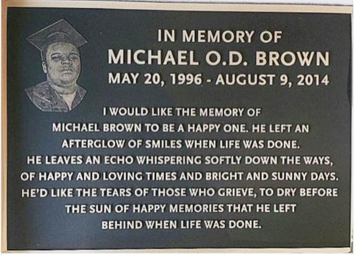 Plaque for Michael 'Mike' Brown