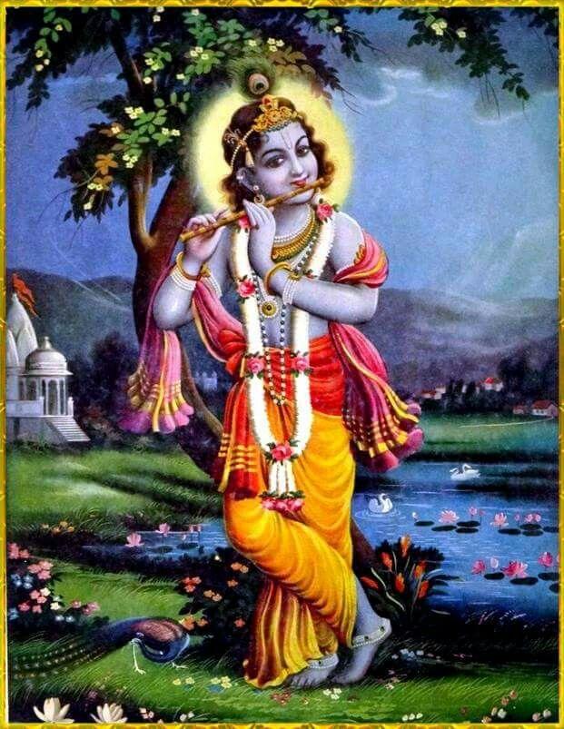 Deusa Krishna em um jardim tocando sua flauta