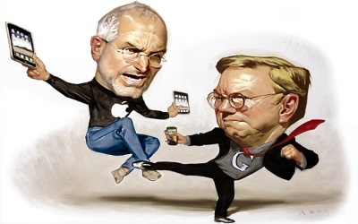 Illustration of Apple CEO Steve Jobs, left, and Google CEO Eric Schmidt. Credit: Daniel Adel