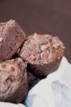 Vegan double chocolate banana muffins