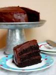Chocolate caramel cake with sea salt