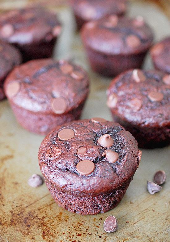 chocolate chip fudge muffins