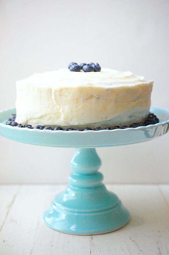 Lemon blueberry cake with lemon cream cheese frosting