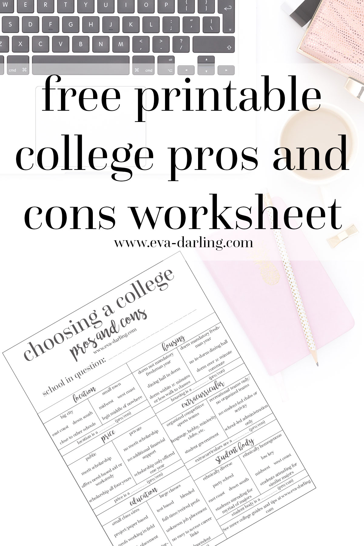 Choosing A College Worksheet