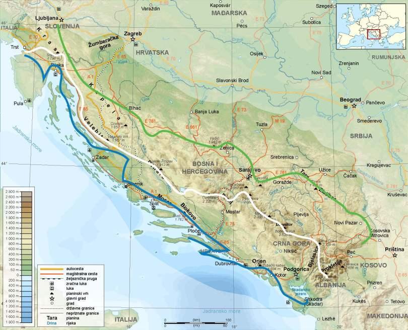 Dinarische Alpen Kaart drie Via Dinarica Trails