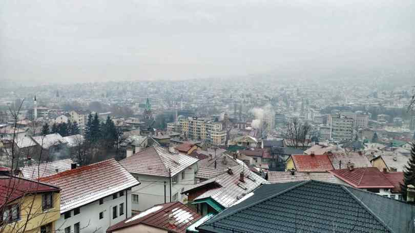 Sarajevo city view smoggy Hiking day