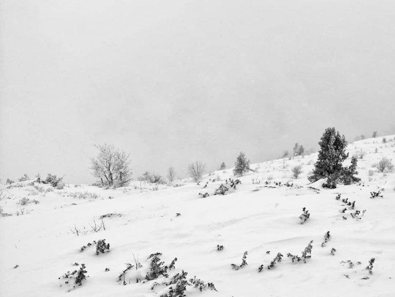 All white mountains above Sarajevo