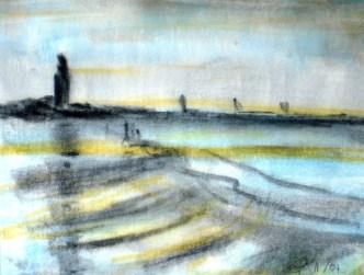 Wattenmeer, 2004, mit Passepartout und Rahmen, 40 x 50 cm