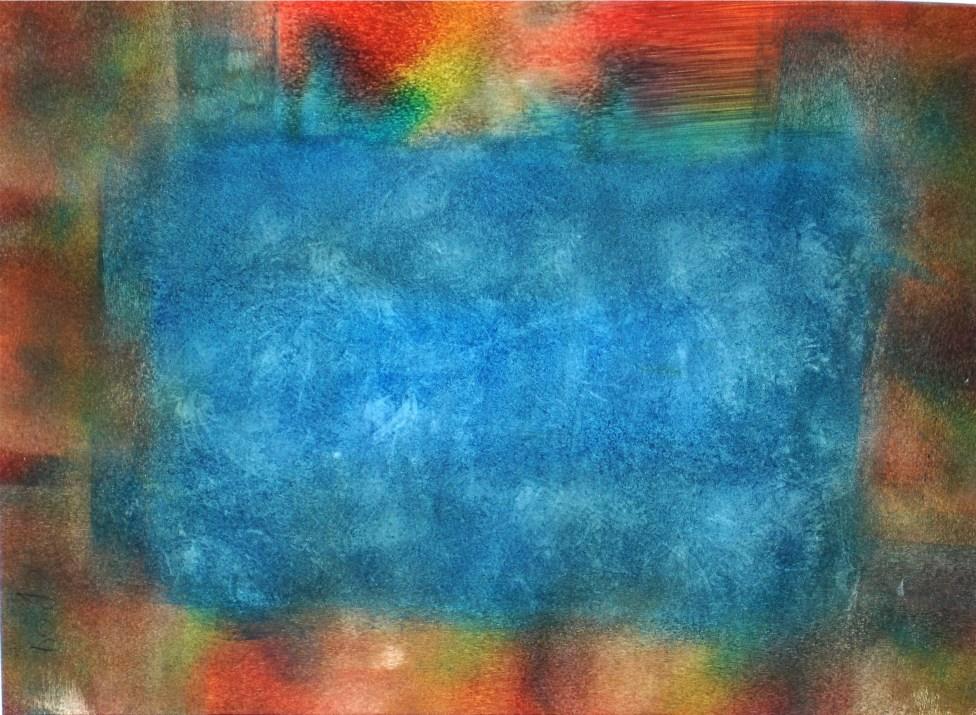 Blautopf, 2003, mit Passepartout und Rahmen, 40 x 50 cm