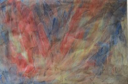 Abstrakte Blume in rot, 2000, mit Passepartout und Rahmen, 40 x 50 cm