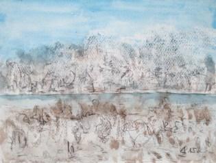 Greifensee im Winter, 2015, Aquarell und Kreide, mit Passepartout und Rahmen, 40 x 50 cm