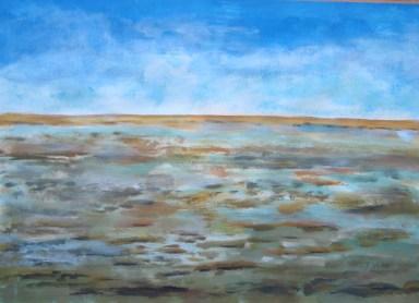 Wattenmeer, 2000, Gouache, mit Rahmen, 50 x 70 cm