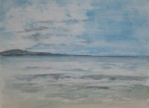 Meer am Morgen, 06.2012 Aquarell mit Passepartout und Rahmen 40 x 50 cm
