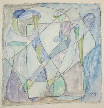Abstrakte Farbfantasie in blau, 1996, mit Passepartout und Rahmen, 40 x 50 cm
