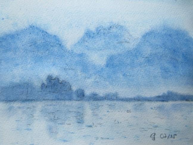 Blick auf Rapperswil an einem Sommermorgen Aquarell, 2015 Mit Passepartout und Rahmen 40 x 50 cm