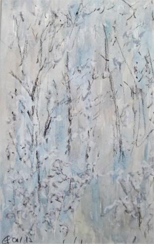 Raureif, 01.2017 Aquarell mit Ölpastellkreide, mit Passepartout und Rahmen 40 x 50 cm