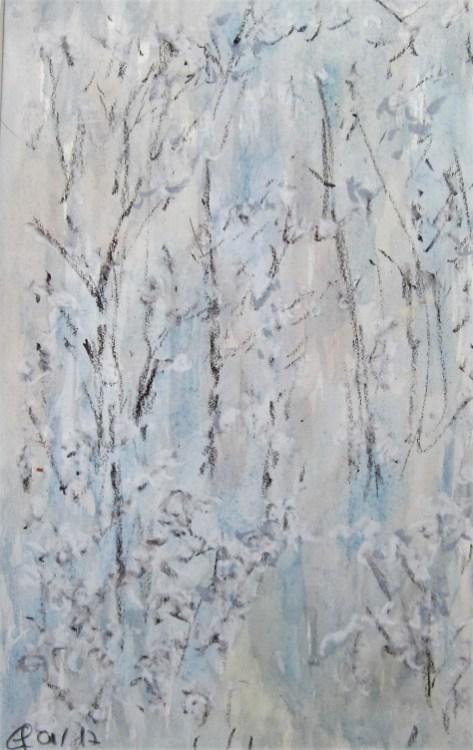 Raureif, 01.2017 Aquarell mit Ölpastellkreide, mit Passepartout udn Rahmen 40 x 50 cm