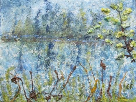 Spiegelungen im Wasser, 04.2017 Powertex auf Leinwand, 40 x 50 cm