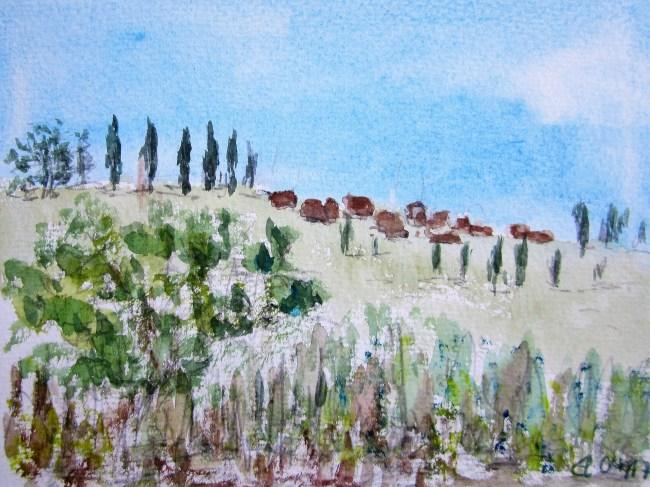 Hügelzug in Norditalien, 2017, Aquarell, mit Passepartout und Rahmen 30 x 40 cm