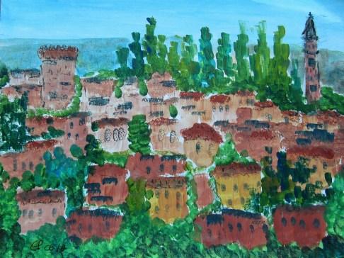 Colà di Lazise, 06.2017, Acryl mit Passepartout und Rahmen 40 x 50 cm