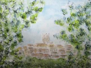 Blick durch die Bäume auf Cola' die Lasize Aquarell, 2017 mit Passepartout und Rahmen 40 x 50 cm