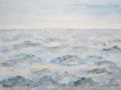 Stürmisches Meer im Herbst 10.2017 Aquarell mit Passepartout und Rahmen 50 x 70 cm