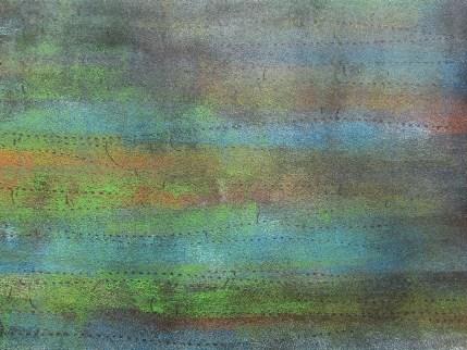 Teer, mit Acryl, Schilf, auf Karton 22.5 x 17 cm