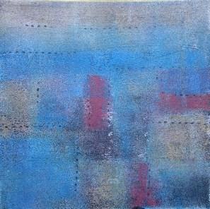 Teer mit Acryl in blau und lila, 04.2018 auf Karton 20 x 20 cm, mit Rahmen 30 x 30 cm