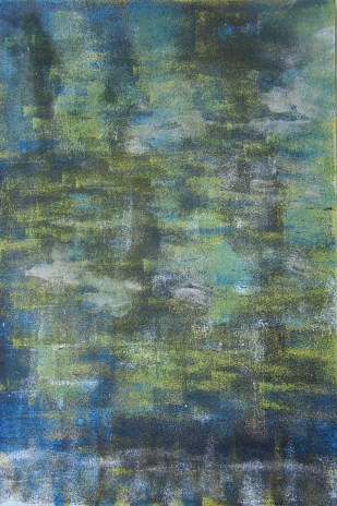 Wald im Frühlingskeid, 2018 Teer mit Acryl auf Karton, 31 x 46 cm mit Rahmen 40 x 50 cm