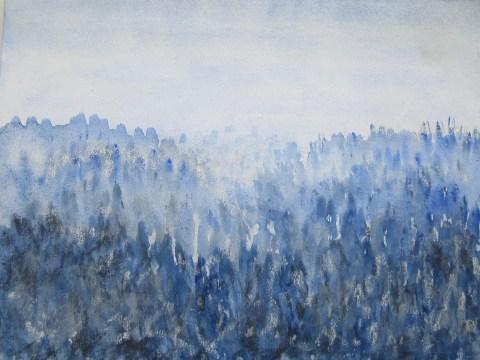 """""""Spiegelbild"""" des frühen Morgens im Winter, 02.2019 Aquarell, mit Passepartout und Rahmen 40 x 50 cm"""