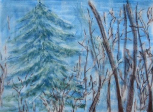 Winterwald, 02.2019 Weichpastellkreide, mit Passepartout und Rahmen 40 x 50 cm