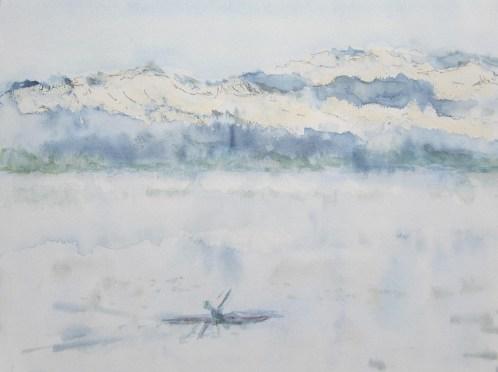 an einem Wintermorgen, 02.2019 Aquarell mit Kreide, mit Passeaprtout und Rahmen 40 x 50 cm