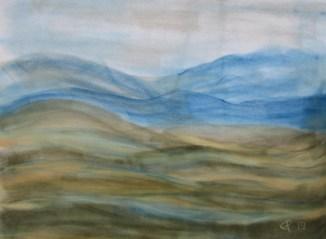 sanfte Hügel, 2019 Weichpastellkreide, mit Passepartout und Rahmen 40 x 50 cm
