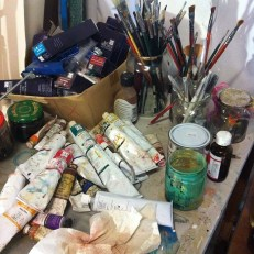 Studio shot of art supplies. You're welcome to come for a studio visit.