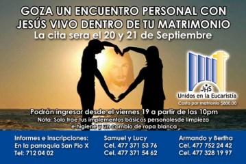 Encuentro matrimonial 20 y 21 de septiembre San Pío X.