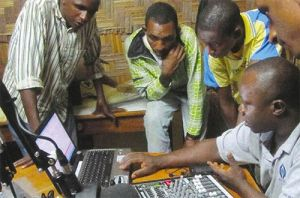 Joseph Kebbie of HCJB Global gives training during the installation of a new radio station in Cameroon. (Photo by HCJB Global)