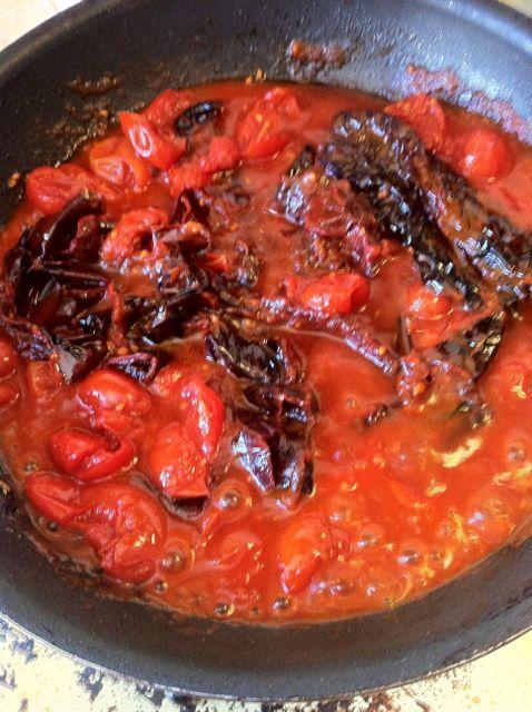 pasilla chiles and tomato