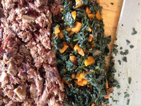 chopped meat and veg