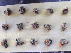 ravioli filling dotted onto pasta
