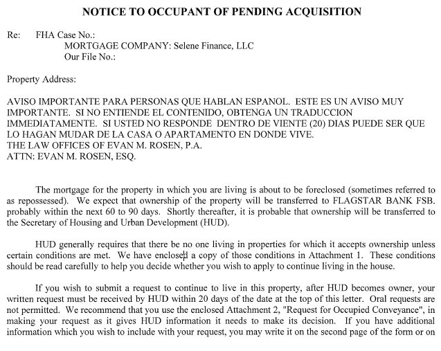 Acquisition Letter