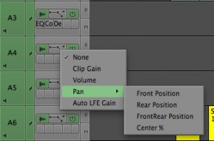 MC lets you keyframe four properties: Front left-right, Rear left-right, Front-Rear, and Center % (if you want a center panned clip to also bleed into L & R)