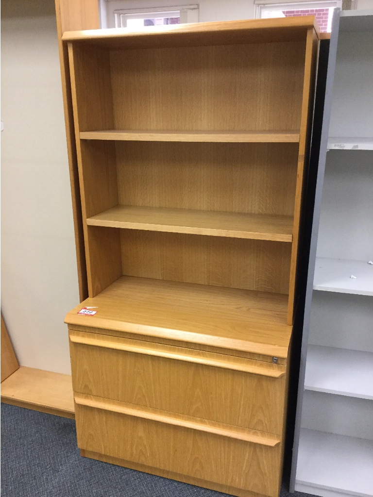 2 Drawer Lateral Filing Cabinet With Bookcase Hutch Timber