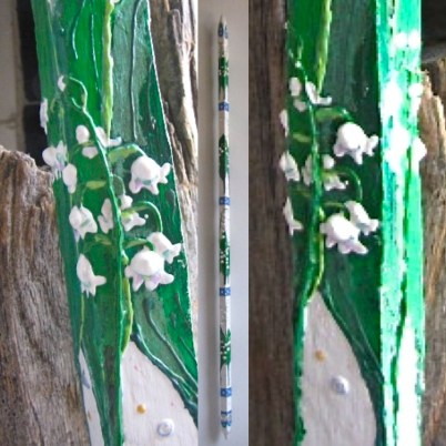 Lilies of the Valley - Painted Tobacco Stick by Evan Silberman