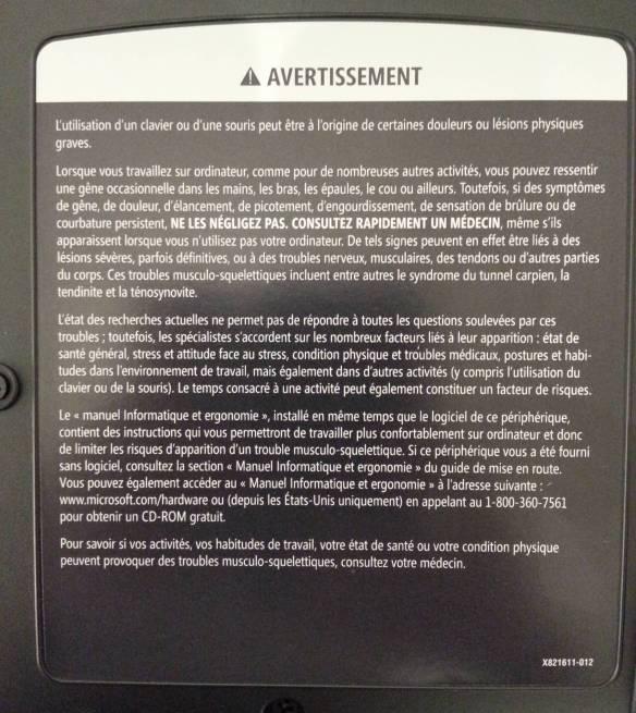 Avertissement TMS microsoft