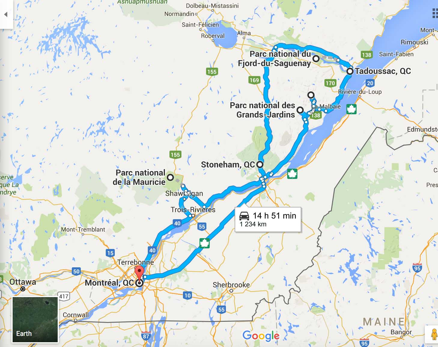 itinéraire road trip au Québec